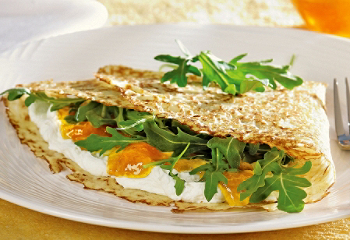 Crepes with goat cheese and peach jam