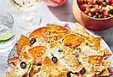 Nachos with summer fruit salsa
