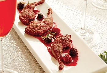 Braised quail and berry sauce