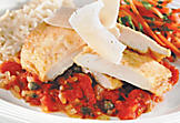 Chicken escalope with tomato and caper sauce