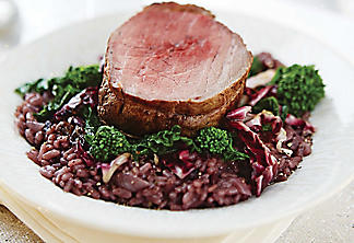 Filet mignon with red-wine risotto