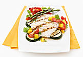 Grilled halibut, grape tomato and mango salsa