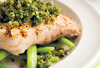 Grilled halibut on salsa verde with coriander