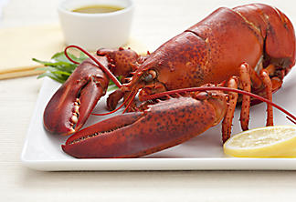 Boiled lobster with lemon-caper butter