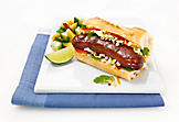 Asian hot dogs with duck sausages