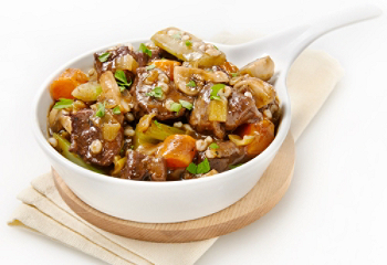 Beef stew with vegetables and barley