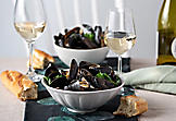Creamy mussels marinière and Dijon