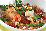 Chicken paella with asparagus