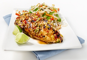 Barbecued Asian chicken breast with bean sprout salad