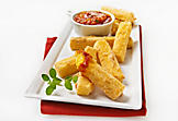 Fried polenta with tomato sauce