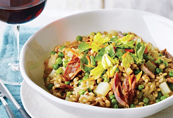 Barley risotto with duck confit and peas