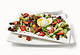 Grilled asparagus salad with Parmesan and medium-boiled egg