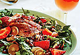 Duck Salad with strawberries