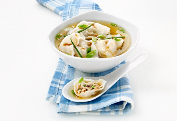 Asian soup with Chinese ravioli