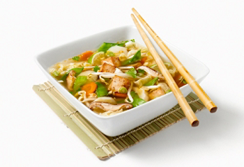 Asian soup with vegetables and tofu