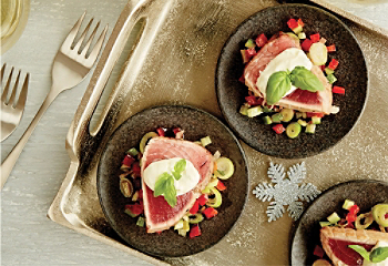 Albacore tuna tataki with lime-and-basil mayonnaise