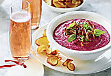 Beet-and-goat-cheese dip with crispy onions