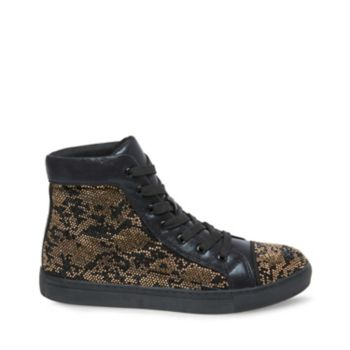 Infuse streetwear with fresh flash in the form of RIOT! Tiny rhinestones blanket this high-top\\\'s upper, forming an exotic reptile-inspired pattern that\\\'ll playfully radiate luxury as it glitters in the sun. Textile upper with rhinestones Textile lining Man-made sole 1 inch heel height