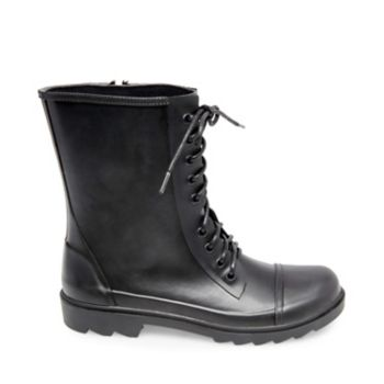 Say goodbye to the galoshes of your childhood and step into TROOPA-R, a chic, updated answer to rainy day footwear. Front lacing and a capped toe elevate this rubber boot for a look that mimics dressier styles. Rubber upper material Fabric lining Rubber sole 1 inch heel height 12 inch shaft circumference 7 inch shaft height Functional inside zipper