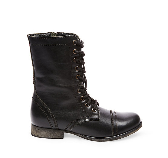 Steve Madden Troopa Military-Inspired Zipper Lace Up Leather Combat Boots O1D6GKWZ