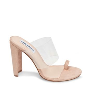 Offering lift and modernity, PLAY is a chic dress slide with powdery nude surfaces and a see-through upper strap. Pair with equally understated toenail polish to emphasize the style's minimalist vibe. Microsuede upper with plastic Man-made lining Man-made sole 4 inch heel height