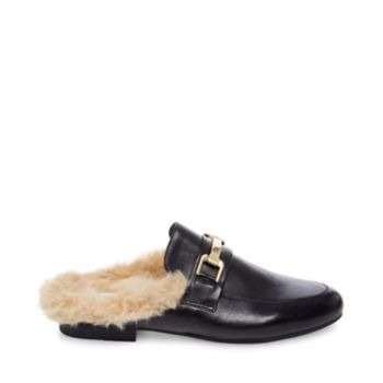 We challenge you to find footwear more luxurious than this leisurely loafer-mule! Plush faux fur lining spills out of the KHLOE\\\'s open back, while a metallic detail ornaments its rich upper. Leather or fabric upper material Faux fur and man-made lining Man-made sole .5 inch heel height
