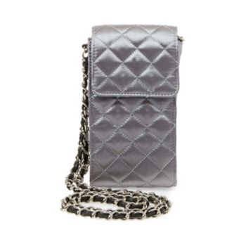 This isn\\\'t your mother\\\'s prim and proper quilted crossbody! The traditional texture and classic chain strap look fresh on BSLIDE\\\'s north-south flap silhouette, while shiny satin surfaces add flashy glamour. Quilted satin crossbody Chain shoulder strap with snap front closure Lined interior Man-made materials 7\\\