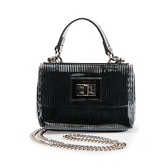 Womens Strippy Satchel, Black Steve Madden