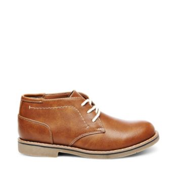 At once classic and current, this brown leather chukka boot features a sturdy sole and smart contrast stitching. Man-made upper material Fabric lining Rubber sole .75 inch heel height