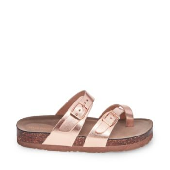 A must-have for mini hippies, JBEACHED takes design cues from iconic comfort styles, featuring a contoured cork sole and adjustable upper straps. Choose between earthy brown or glam rose gold variations. Man-made upper material Man-made lining Man-made sole 1 inch platform height