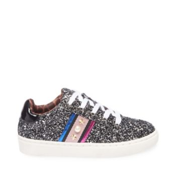 A must-have kick for glam girlies on the go, JDANNIE is equal parts fashion and function. Glitter, faux pearls and metal star studs decadently decorate this lace-up, while a sporty rubber sole puts spring in each step. Glitter upper material Man-made lining Man-made sole 1 inch platform