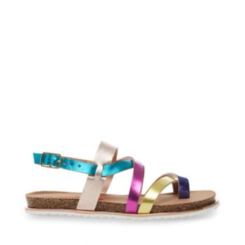This rad rainbow sandal will brighten your look, as well as your day! JSTELARE\\\'s colorful upper acts as candy for the eyes, while the style\\\'s contoured cork sole provides unbeatable comfort. Man-made upper material Man-made sole