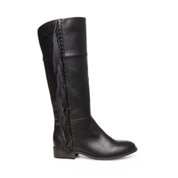 Fringe lends playful western flair to these knee-high boots, making them perfect fall footwear for fashion-minded it-girls. Man-made upper material Fabric lining Rubber sole with fabric Functional side zipper 1 inch heel height Size 13 measures approximately 9.8 inch shaft height; 12.6 inch circumference Size 4 measures approximately 10.8 inch shaft height; 13.8 inch circumference