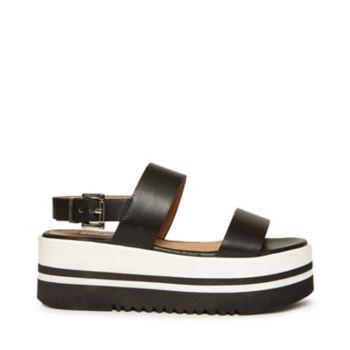 Stevemadden sandals adora black leather side