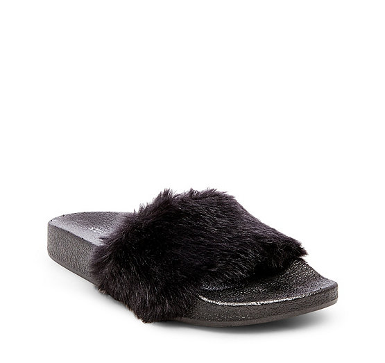 2017 High Steve Madden Softey Fur Slide Sandal Grey