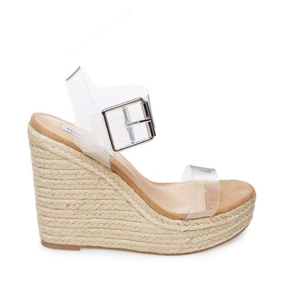 Steve Madden Women's Splash Transparent Strap Wedge Sandal