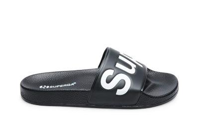 Superga 1908 slides black white side