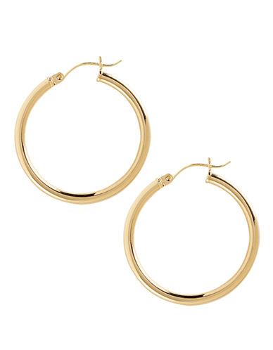 14K Yellow Gold Tube Hoop Earrings