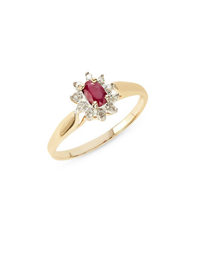 Fine Jewellery 10K Yellow Gold Ruby and White Sapphire Ring 76069269