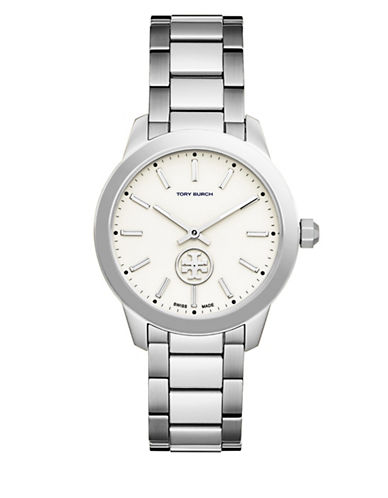 Tory Burch 32mm Collins Stainless Steel Two-hand Bracelet Watch In Silver
