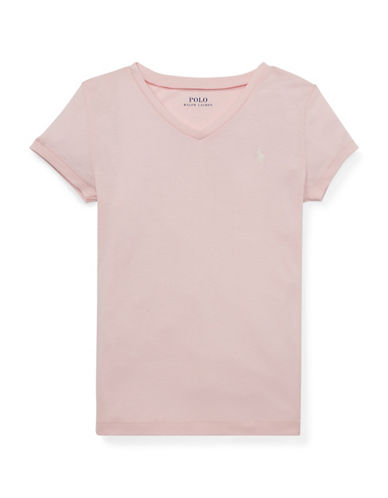 Ralph Lauren Childrenswear Kid's Cotton-Modal V-Neck Tee 90185438