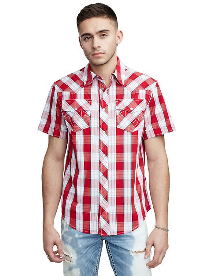PLAID WESTERN SHORT SLEEVE SHIRT