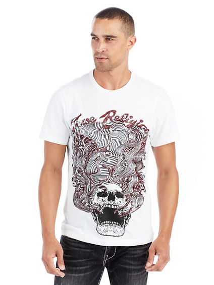MENS EMBROIDERED WAVY SKULL TEE