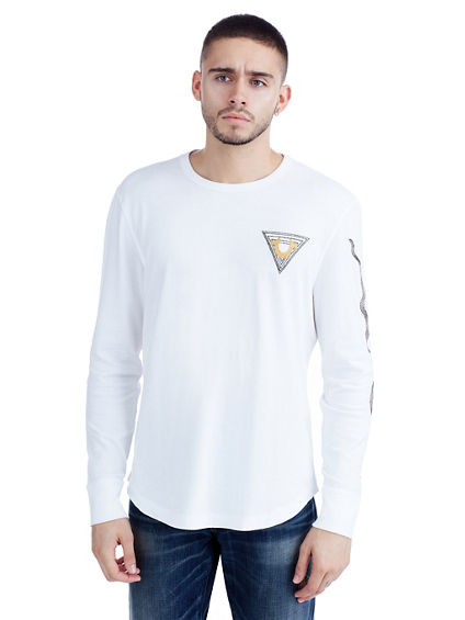 EMBROIDERED LINEAR ART CREW NECK MENS TEE