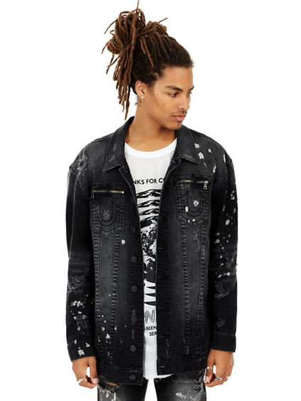 MENS DISTRESSED PAINT SPLATTER TURNER DENIM JACKET