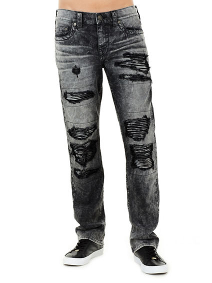 MENS DISTRESSED MOTO RICKY STRAIGHT JEAN