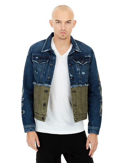MENS TWO TONE GRAFFITI DANNY DENIM JACKET