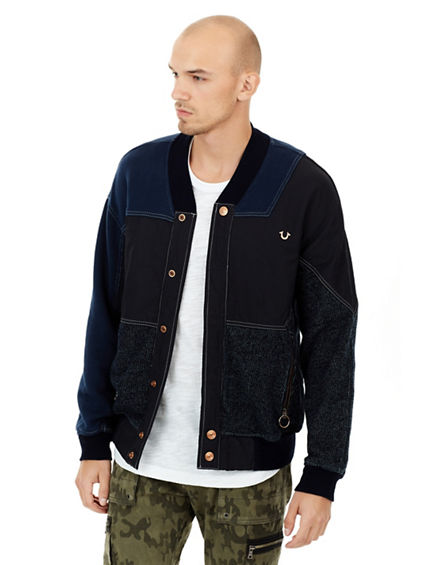 MENS DENIM PATCHWORK BOMBER JACKET