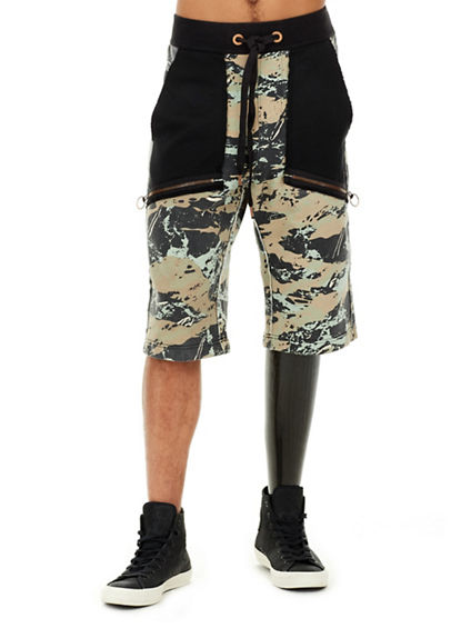 MENS GEO CAMO BLOCK SWEAT SHORT