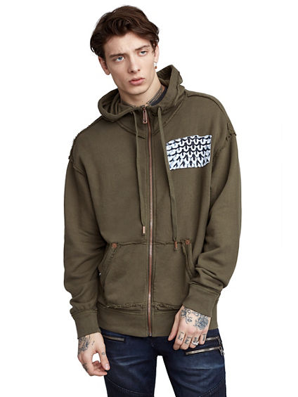 MENS RAW EDGE 3D GRAPHIC ZIP UP HOODIE